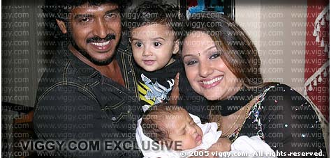 Superstar Upendra with his wife Priyanka, son Ayush and daughter. This photograph is exclusively brought to you by viggy.com